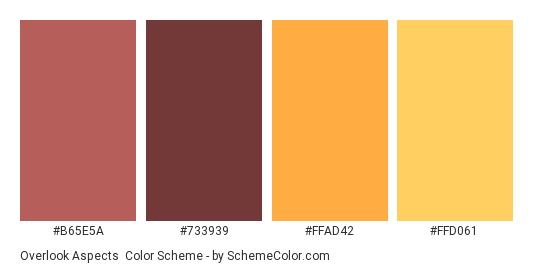 Overlook Aspects - Color scheme palette thumbnail - #B65E5A #733939 #FFAD42 #FFD061