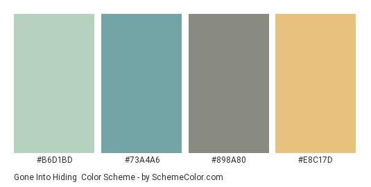 Gone into Hiding - Color scheme palette thumbnail - #B6D1BD #73A4A6 #898A80 #E8C17D
