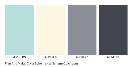 Plan and Make - Color scheme palette thumbnail - #B6DFD9 #FCF7E0 #8C8F97 #43454D