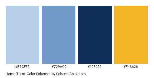 Home Tutor - Color scheme palette thumbnail - #B7CFE9 #729AC9 #103059 #F4B626