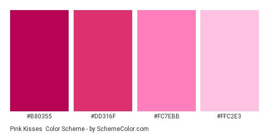 Pink Kisses - Color scheme palette thumbnail - #B80355 #DD316F #FC7EBB #FFC2E3