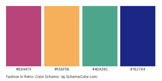 Fashion in Retro - Color scheme palette thumbnail - #B84479 #F6AF5B #4DA58C #1B2784