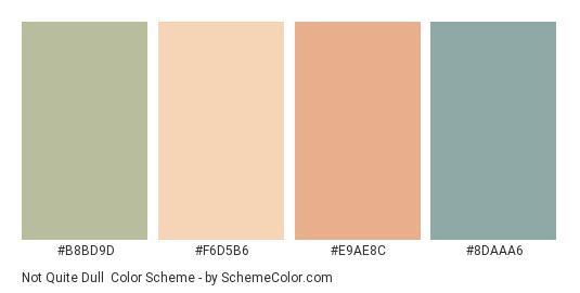 Not Quite Dull - Color scheme palette thumbnail - #B8BD9D #F6D5B6 #E9AE8C #8DAAA6