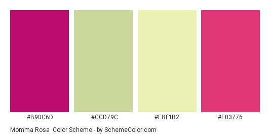 Momma Rosa - Color scheme palette thumbnail - #B90C6D #CCD79C #EBF1B2 #E03776