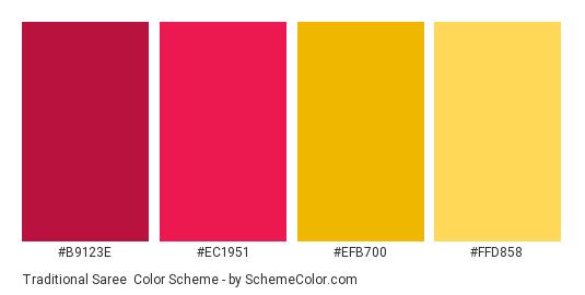 Traditional Saree - Color scheme palette thumbnail - #B9123E #EC1951 #EFB700 #FFD858