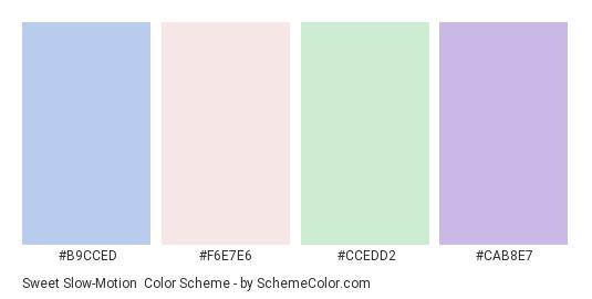 Sweet Slow-Motion - Color scheme palette thumbnail - #B9CCED #F6E7E6 #CCEDD2 #CAB8E7