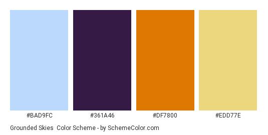 Grounded Skies - Color scheme palette thumbnail - #BAD9FC #361A46 #DF7800 #EDD77E