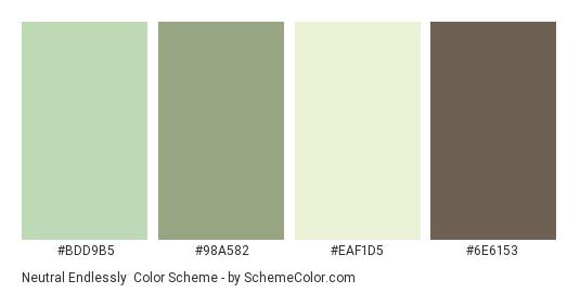 Neutral Endlessly - Color scheme palette thumbnail - #BDD9B5 #98A582 #EAF1D5 #6E6153