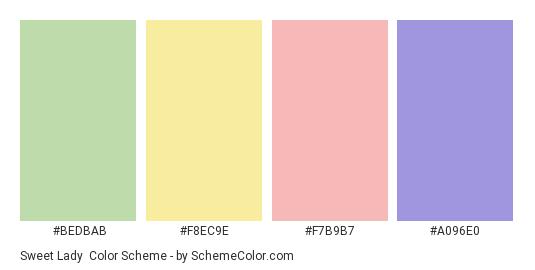 Sweet Lady - Color scheme palette thumbnail - #BEDBAB #F8EC9E #f7b9b7 #a096e0