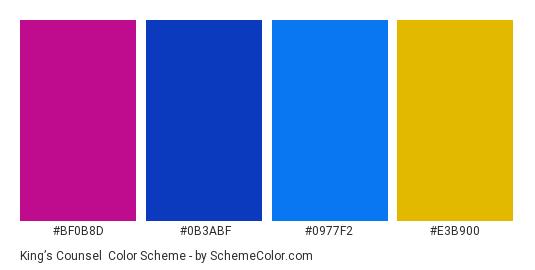 King's Counsel - Color scheme palette thumbnail - #BF0B8D #0B3ABF #0977F2 #E3B900