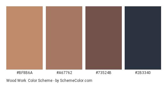 Wood Work - Color scheme palette thumbnail - #BF8B6A #A67762 #73524B #2B3340