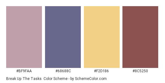 Break up the Tasks - Color scheme palette thumbnail - #BF9FAA #68688C #F2D186 #8C5250