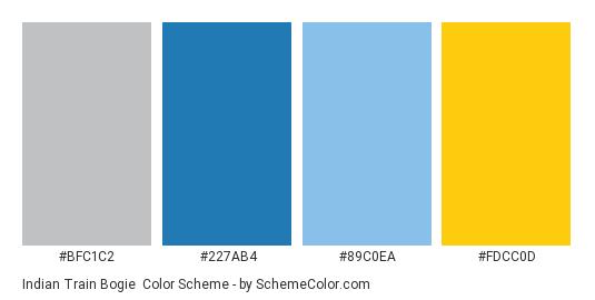 Indian Train Bogie - Color scheme palette thumbnail - #BFC1C2 #227AB4 #89C0EA #FDCC0D