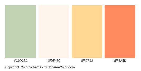 Copyright - Color scheme palette thumbnail - #C0D2B2 #FDF4EC #FFD792 #FF8A5D
