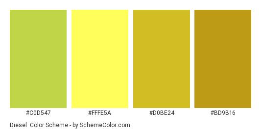 Diesel - Color scheme palette thumbnail - #C0D547 #FFFE5A #D0BE24 #BD9B16