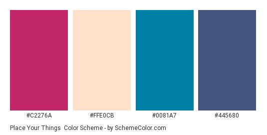 Place Your Things - Color scheme palette thumbnail - #C2276A #FFE0CB #0081A7 #445680