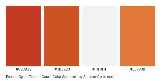 French Open Tennis Court - Color scheme palette thumbnail - #C23B22 #CB5223 #F1F3F4 #E3783B