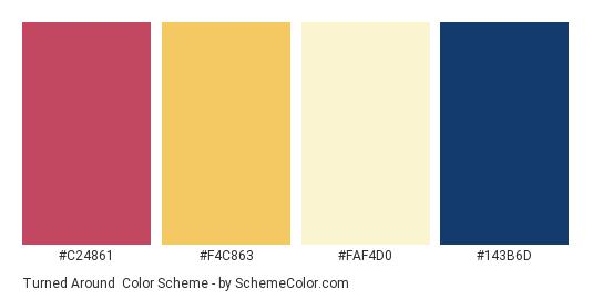 Turned Around - Color scheme palette thumbnail - #C24861 #F4C863 #FAF4D0 #143B6D