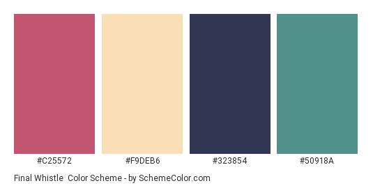 Final Whistle - Color scheme palette thumbnail - #C25572 #F9DEB6 #323854 #50918A