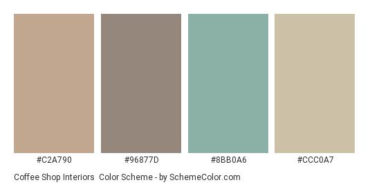 Coffee Shop Interiors - Color scheme palette thumbnail - #C2A790 #96877D #8BB0A6 #CCC0A7