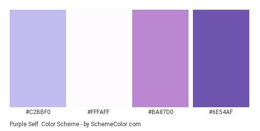 Purple Self - Color scheme palette thumbnail - #C2BBF0 #FFFAFF #BA87D0 #6E54AF