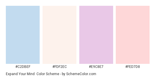 Expand Your Mind - Color scheme palette thumbnail - #C2DBEF #FDF2EC #E9C8E7 #FED7D8