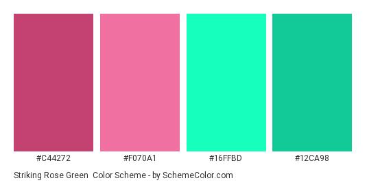 Striking Rose Green - Color scheme palette thumbnail - #C44272 #F070A1 #16FFBD #12CA98