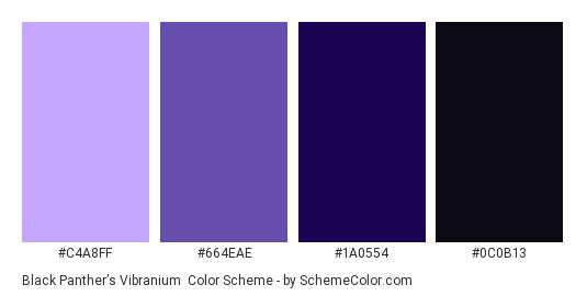 Black Panther's Vibranium - Color scheme palette thumbnail - #C4A8FF #664EAE #1A0554 #0C0B13