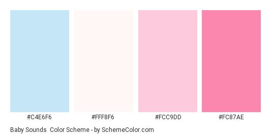 Baby Sounds - Color scheme palette thumbnail - #C4E6F6 #FFF8F6 #FCC9DD #FC87AE