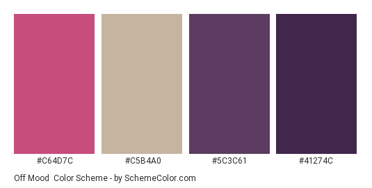 Off Mood - Color scheme palette thumbnail - #C64D7C #C5B4A0 #5C3C61 #41274C