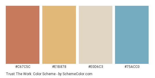 Trust the Work - Color scheme palette thumbnail - #C67C5C #E1B878 #E0D6C3 #75ACC0