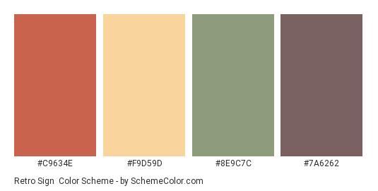 Retro Sign - Color scheme palette thumbnail - #C9634E #F9D59D #8E9C7C #7A6262