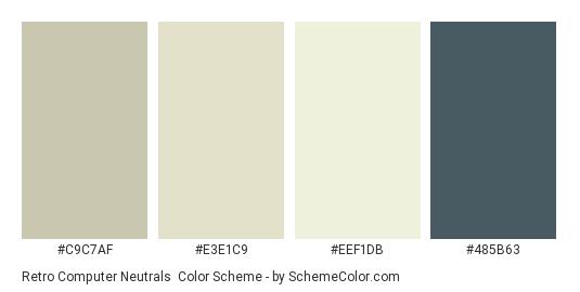 Retro Computer Neutrals - Color scheme palette thumbnail - #C9C7AF #E3E1C9 #EEF1DB #485B63