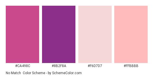 No Match Color Scheme Palette Thumbnail Ca498c 8b2f8a F6d7d7 Ffbbbb