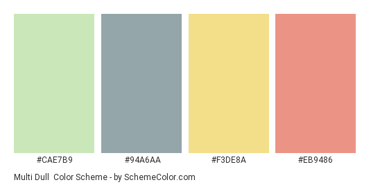 Multi Dull - Color scheme palette thumbnail - #CAE7B9 #94A6AA #F3DE8A #EB9486