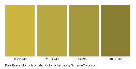 Dark Brass Monochromatic - Color scheme palette thumbnail - #CBB540 #B8A943 #A5983C #897E32