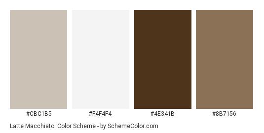 Latte Macchiato - Color scheme palette thumbnail - #CBC1B5 #F4F4F4 #4E341B #8B7156