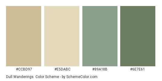 Dull Wanderings - Color scheme palette thumbnail - #CCBD97 #E5DABC #89A18B #6E7E61