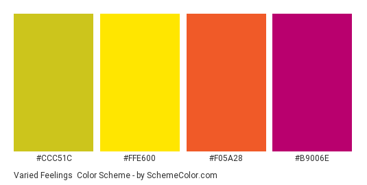 Varied Feelings - Color scheme palette thumbnail - #CCC51C #FFE600 #F05A28 #B9006E
