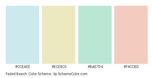 Faded Beach - Color scheme palette thumbnail - #CCEAEE #ECE8C0 #BAE7D4 #F4CCBD