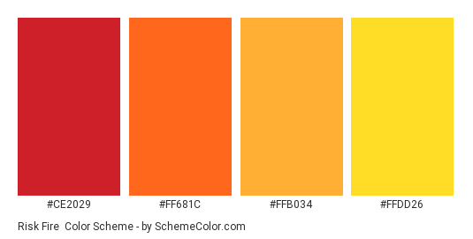 Risk Fire - Color scheme palette thumbnail - #CE2029 #FF681C #FFB034 #FFDD26
