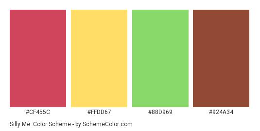 Silly Me - Color scheme palette thumbnail - #CF455C #FFDD67 #88D969 #924A34