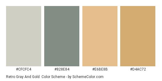 Retro Gray and Gold - Color scheme palette thumbnail - #CFCFC4 #828E84 #E6BE8B #D4AC72
