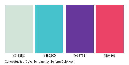Conceptualise - Color scheme palette thumbnail - #D1E2D8 #48C2CD #66379B #EA4166