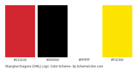 Shanghai Dragons (OWL) Logo - Color scheme palette thumbnail - #D22630 #000000 #FFFFFF #FCE300
