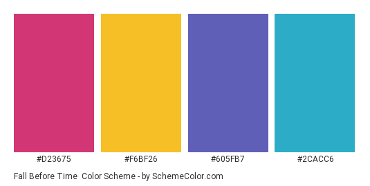 Fall Before Time - Color scheme palette thumbnail - #D23675 #F6BF26 #605FB7 #2CACC6