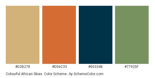 Colourful African Skies - Color scheme palette thumbnail - #D2B278 #D56C33 #003348 #77925F