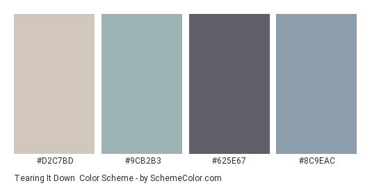 Tearing It Down - Color scheme palette thumbnail - #D2C7BD #9CB2B3 #625E67 #8C9EAC