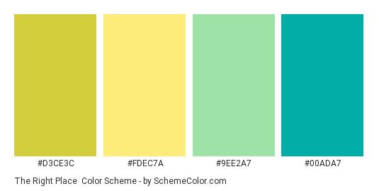The Right Place - Color scheme palette thumbnail - #D3CE3C #FDEC7A #9EE2A7 #00ADA7
