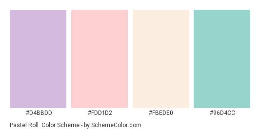 Pastel Roll - Color scheme palette thumbnail - #D4BBDD #FDD1D2 #FBEDE0 #96D4CC